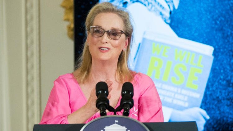 "Meryl Streep speaks at a screening of the new CNN Film ""We Will Rise: Michelle Obama's Mission to Educate Girls Around the World"" at the White House on Tuesday. (Molly Riley / Associated Press)"